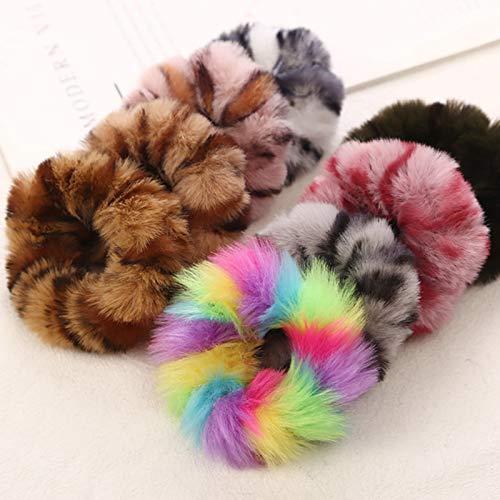 HughStore - 10 elastici per capelli in pelliccia di coniglio, con pompon elastici per capelli e coda di cavallo, per donne e ragazze (multi)