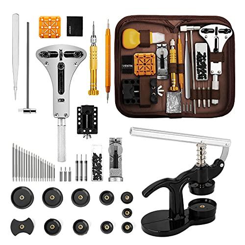 Eventronic Tool Kit Professionale di Riparazione Orologi, Attrezzi di Apertura Orologi e kit di Riparazione Orologio e portable tool kit orologiaio, Set Pressa Orologio Professionale