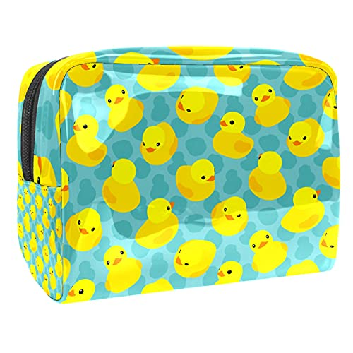 Makeup Bag for Purse PVC Travel Cosmetic Pouch Cute Duck Toiletry Bag for Women Girls Gifts Portable Water-Resistant Daily Storage Organizer 7.3x3x5.1 Inch