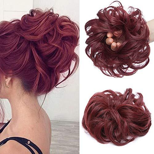 Silk-co Chignon Capelli Finti con Elastico Posticci per Capelli Ciambella 35g Messy Hair Bun Updo Extension Coda-Vino Rosso