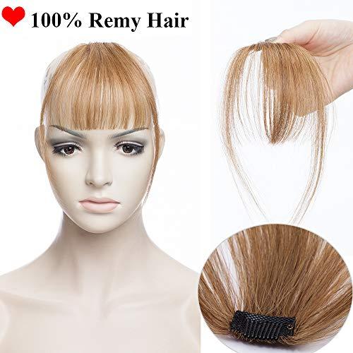 SEGO Frangia Clip Capelli Veri Frangetta Extension Fascia Unica Sottile 100% Remy Human Hair Marrone Air Bang Invisibile #6 Castano
