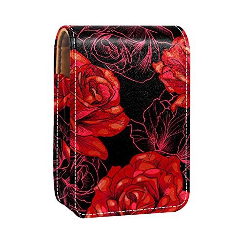 Romantico San Valentino rosso rosa fiore rossetto caso esterno titolare rossetto per borsa mini rossetto borsa viaggio cosmetici sacchetto con specchio per le donne prende fino a 3 rossetto