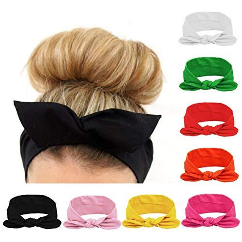 8 Pezzi Fasce per Donna Elastico per Capelli Vintage Flower Turbante Yoga Testa Contorta Carino Accessori Capelli per Donna e Ragazza