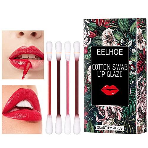 Cotton Swab Lipstick, Rossetto Tampone di Cotone de 4 Colores Rossetto Liquido usa e Getta, Rossetto Resistente all'acqua e non Appiccicoso,20 Pezzi