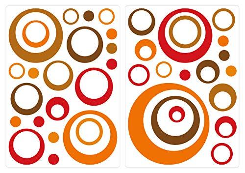 dekodino® Adesivo murale retrò circoli arancione rosso marrone 40 pezzi salotti