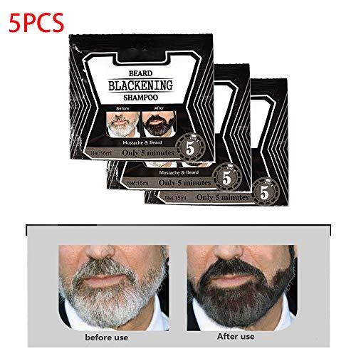 5PCS Shampoo per annerire la barba, Shampoo per barba Tingere per annerire la barba Nero naturale Solo 5 minuti per uomo Naturale senza stimolazione Cura tinta Baffi che dura 4 settimane