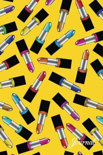 Journal: Yellow rainbow lipstick notebook