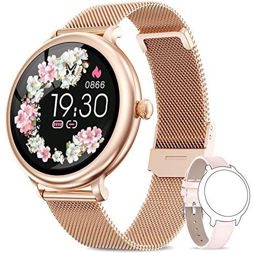 NAIXUES Smartwatch Donna IP68, Orologio Fitness Impermeabile Cardiofrequenzimetro da Polso, Smart Watch Bluetooth Contapassi Calorie Sonno Notifiche Messaggi Activity Tracker per Android iOS Oro Rosa
