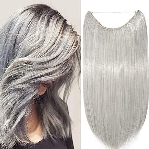 Elailite Extension Capelli Filo Invisibile Fascia Unica Lisci Finti Fibre Hair Extensions 3/4 Full Head senza Clip 50cm - Grigio Argento