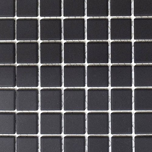 Piastrelle a mosaico in ceramica, colore nero, non smaltate, per pavimenti, pareti, bagno, WC, doccia, cucina, cucina, rivestimento, vasca da bagno, piastrelle a mosaico