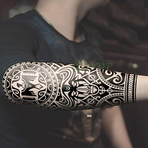 HXMAN 3pcs Impermeabile Temporaneo Tatuaggio Adesivo Tribale Totem Falso Tatuaggio Flash Tatoo Sul Corpo Posteriore Gamba Braccio Venta Grande Dimensione Per Le Donne Uomini Ragazza rosa