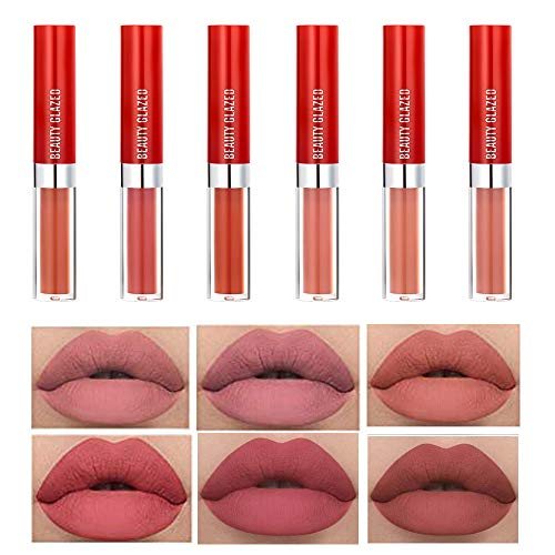 Set di rossetti opachi, 6 pezzi di rossetto liquido impermeabile a lunga durata lucidalabbra antiaderente tazza idratante nudo set di trucco per rossetto liscio