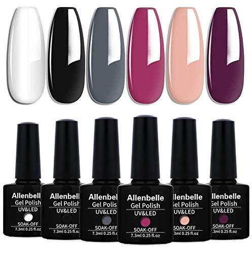 Allenbelle Smalto Semipermante Per Unghie Kit In Gel Uv Led Smalti Semipermanenti Per Unghie Nail Polish UV LED Gel Unghie(Kit di 6 pcs 7.3ML/pc) (031)