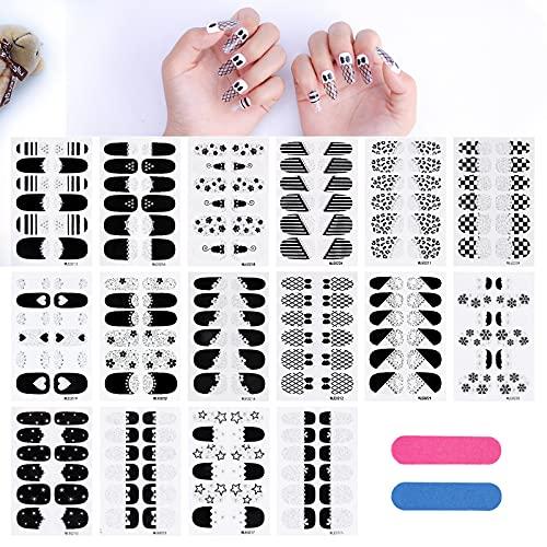 MWOOT 16 Fogli Adesivo Smalto per Unghie,Serie Nera Unghie Adesivi Decalcomanie,Autoadesivo Nail Art Stickers per Manicure le Punte Decorazioni