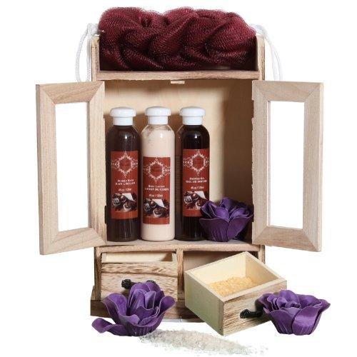 BRUBAKER Cosmetics set beauty da bagno e igiene personale cioccolato in comodo armadietto in legno