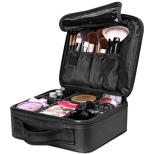 Luxspire Borsa Cosmetica, Borsetto Cosmetico Portatile Professionale per Trucco per Viaggio, Artisti Bagaglio Spazzole Borsa Bagagliaio Organizer Tool con Divisori Regolabili - Nero