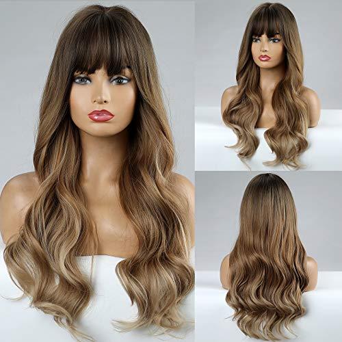 HAIRCUBE Parrucche lunghe ondulate Parrucche marroni Parrucche sintetiche per capelli per donne Parrucche ricci naturali per uso quotidiano Parrucca