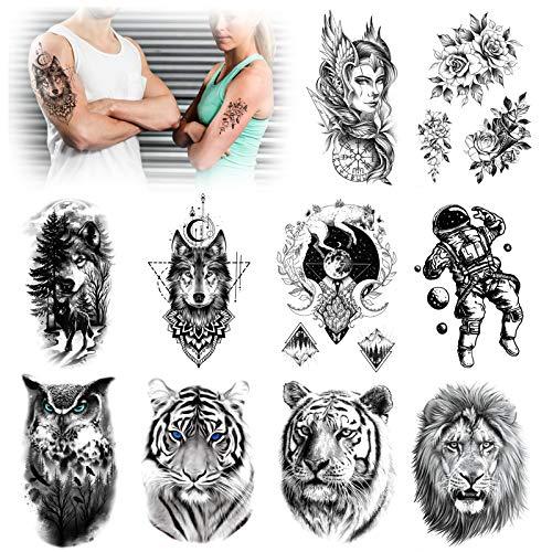 HOWAF 10 fogli Grande Leone Tigre Tatuaggio Temporaneo Adulti Uomini Gufo Astronauta Sulla Luna Donne Grande Braccio Fiore Impermeabile Falso Nero Tatuaggio Adesivi Braccio Donne Tatuaggi Totem