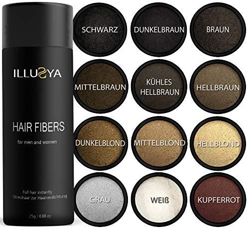 ILLUSYA - Polvere di capelli, Hair Fiber, Fibre per Capelli Capelli fatto di cotone, Soluzione Professionale per la Perdita di Capelli per Donne e Uomini Prodotti Migliori 25g (nero)