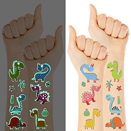 10 Fogli di Adesivi di Tatuaggi a Dinosauri Tatuaggi Temporanei di Dinosauri Tatuaggi di Animali Luminosi Tatuaggi Glitterati per Bambini Decorazioni di Compleanno Regali per Bomboniere
