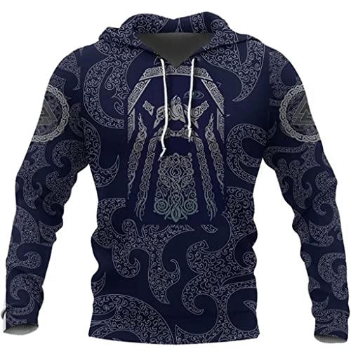 YABEME Felpa con Cappuccio da Uomo di Viking Odin, Mitologia Norrena Valhalla Stampa 3D Nodo Celtico Tatuaggi Valknut Pullover Felpe, Giacca Ampia A Manica Lunga,Hoodie,XL