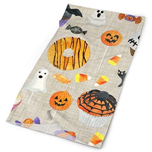 XCNGG Halloween Sweet Treats Farina d'avena varietà Sciarpa Avvolgere Bandana Copricapo Ghette per Il Collo Sciarpa per Il Viso Maschere solari