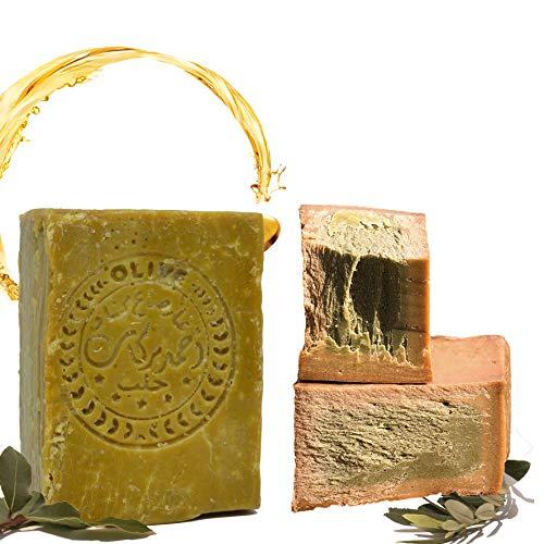 E4U - Sapone originale Aleppo, 60% olio d'oliva, 40% olio di alloro, circa 200 g, vegano, sapone naturale, proprietà disintossicanti, sapone da doccia e da barba, ricetta orientale tradizionale