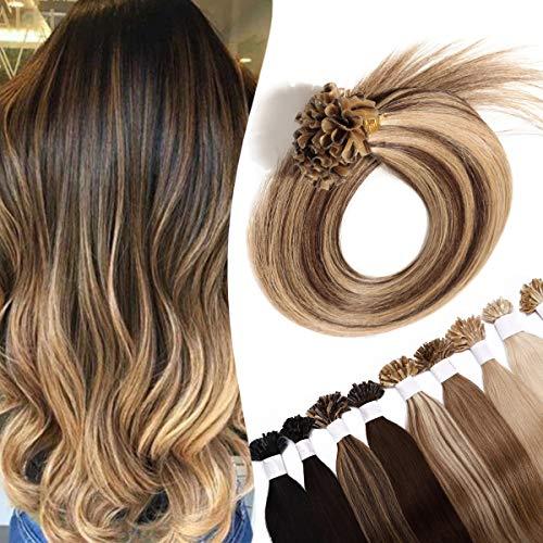 SEGO Extension Cheratina Capelli Veri 100 Ciocche 50g 40cm - 100% Remy Human Hair #4P27 Marrone Medio Balayage Biondo Scuro