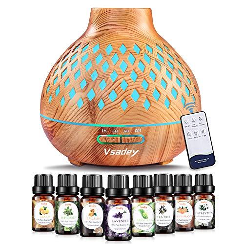 Vsadey 400ML Diffusore di Oli Essenziali con 8x10ml Olio essenziale, Diffusore di Aromaterapia Ultrasuoni con 7 Colori LED, Spegnimento Automatico, per Casa, Yoga, Spa, Senza BPA