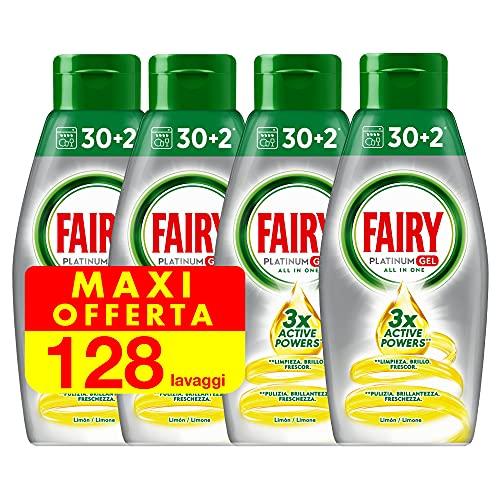 Fairy Platinum Gel Detersivo Lavastoviglie, 128 Cicli (4 Confezioni x 32), Limone, Maxi Formato, 100% Dissoluzione, con Sistema di Prelavaggio Integrato, Efficace nei Cicli Ecologici