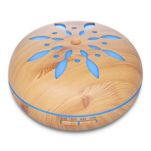 Diffusore di aromi, Seamei Umidificatore 550ML Diffusore di olio Essenziale ad Ultrasuoni Aromaterapia Ionizzatore e Purificatore d'aria Lampada giorno/notte, 7 Colori LED, 4 Impostazioni Timer