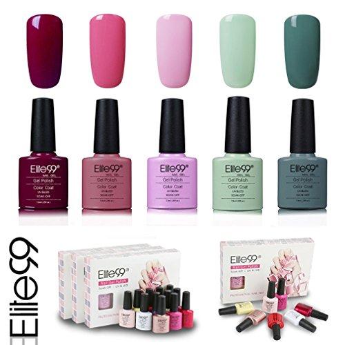 Elite99 Smalto Semipermente per Unghie in Gel UV LED 5 Colori Kit per Manicure Regalo Smalti Gel per Unghie Soak Off 7.3ml - Kit017