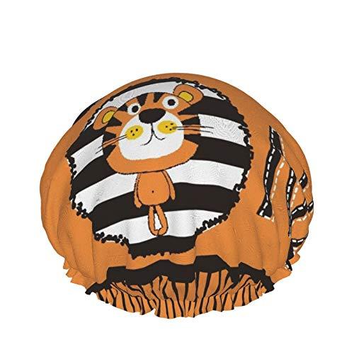 Cuffia per doccia a doppio strato,Cute Tiger Cartoon Vector Illustration Wild One Birthday Shirt First Birthday,Tappi da bagno elastici impermeabili riutilizzabili per tutte le lunghezze