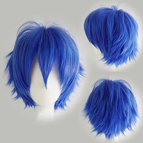 Elailite Parrucca Corta Blu Parrucche Cosplay Capelli Sintetici Uomo/Donna Vari Colori per Carnevale Party Festa