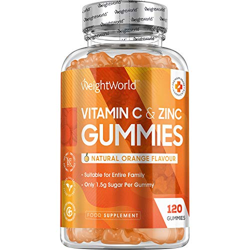Vitamina C + Zinco Vitamine Gommose - 120 Caramelle Gommose Adulti & Bambini Vegan - Vitamina C Zinco per Sistema Immunitario, Energia, Concentrazione e Memoria - Zinco + Vitamina C - Senza Glutine