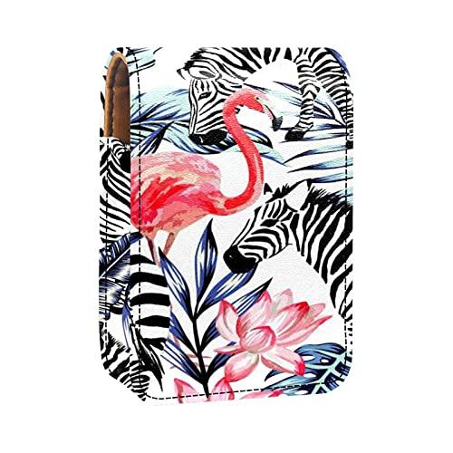 Mini Pelle Sacchetto dell'organizzatore del rossetto,Acquerello di foglie di palma blu fenicottero rosa