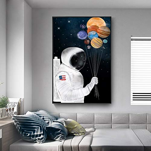 SAIDE Cartone Animato Astronauta Cartone Animato Camera dei Bambini Decorazione della Parete Poster e Arte della Parete su Tela 50x75 cm Senza Cornice