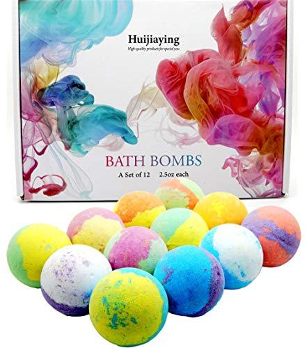 Bombe da Bagno,12 Pezzi Oli Essenziali Naturali Sale da Bagno Effervescente Trattamento Spa Fragrante,Set Bombe da Bagno Regalo Natale Compleanno
