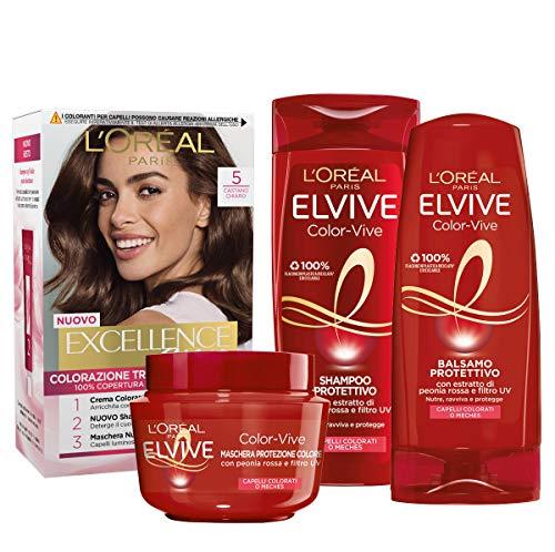 L'Oréal Paris Kit Cura & Colore Capelli Castano, Box con Tinta Capelli Excellence Castano Chiaro 5, Shampoo, Balsamo e Maschera Color Vive per Il Mantenimento del Colore nel Tempo, Confezione da 4