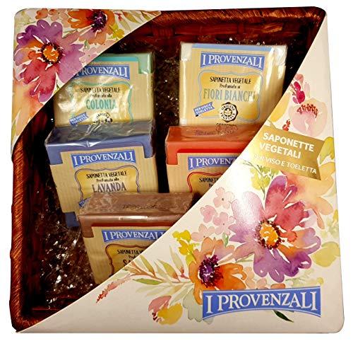 I Provenzali confezione regalo 5 saponette vegetali in cestino di vimini