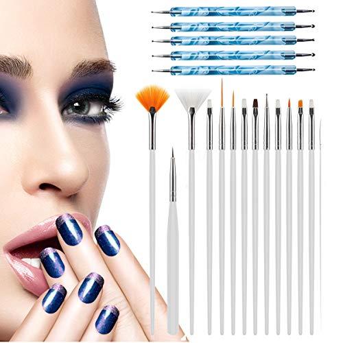 Nail Art Pennelli, Deesospro® 15 pz Nail Art Pennelli Smalto per Unghie Spazzola di pittura + 5 pz Marbleizing che punteggiano penna