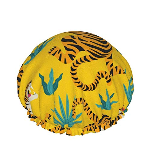 Cute Tigers Cuffia da doccia Donna Cuffia da bagno impermeabile a doppio strato Fodera in Eva Design per tutte le lunghezze dei capelli