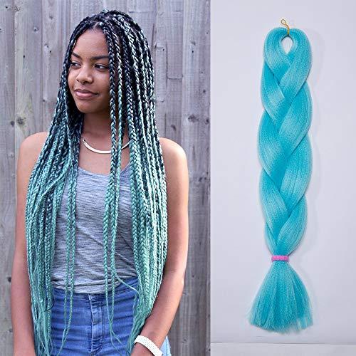 Elailite Extension Treccine Afro Trecce Africane Capelli Sintetici per Treccia Finta Braids Braiding Braids Hair una Ciocca 60cm 100g, Azzurro Chiaro