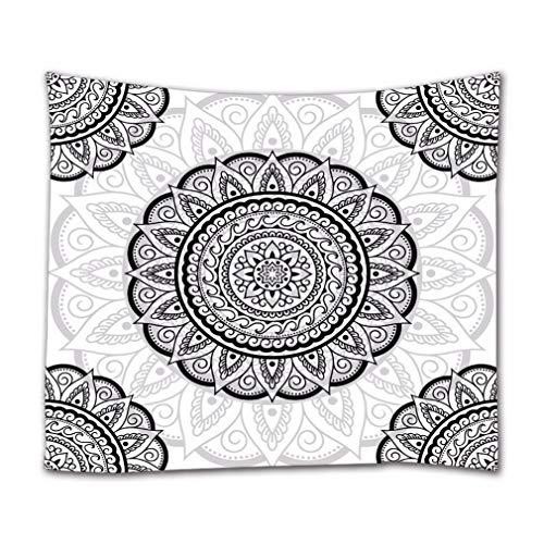 A.Monamour Arazzo da Parete Grande Mandala Indian Mandala Boho Geometrico Tribale Etnico Tatuaggio Modello Arte Astratta Sfondo Bianco Telo Tessuto Tenda Tovaglia Copriletto Arazzi Murale Decorazione