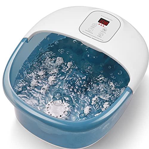 pediluvio Spa, massaggiatore per piedi con spruzzatore e riscaldamento vibrante, vasca da bagno elettrico, riscaldamento con temperatura dell'acqua, 14 rulli massaggianti rimovibili