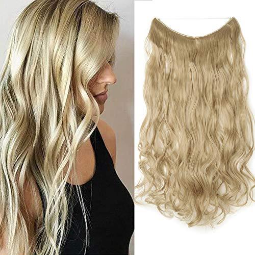 Silk-co 60cm Extension con Filo Invisibile Fascia Unica Extension per Capelli Mossi One piece Wire in Hair Extension Filo Trasparente–Biondo Cenere