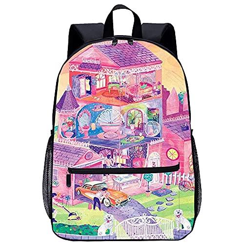 YJBZDMG Zaino moda impermeabile con stampa a colori Oxford panno Barbie Cottage Campus borsa da scuola da viaggio all'aperto borsa da campeggio leggera
