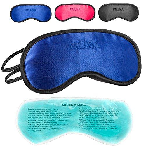 Maschera per dormire con cuscino rinfrescante per gli occhi Occhiali per dormire con elastico regolabile e sensazione di seta Il cuscino rinfrescante aiuta con l'emicrania (Blu)