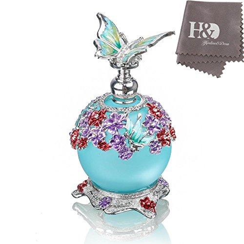 H&D - Bottiglia da profumo a forma di farfalla, in vetro smerigliato, ricaricabile, vuota, con corpo blu, 23 ml