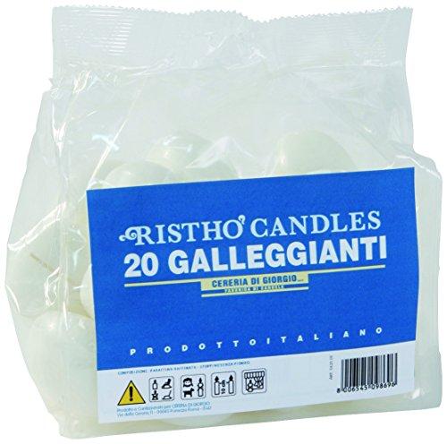 Cereria di Giorgio Risthò Candele Galleggianti, Cera, Bianco, 4.5x4.5x2.5 cm, 20 unità
